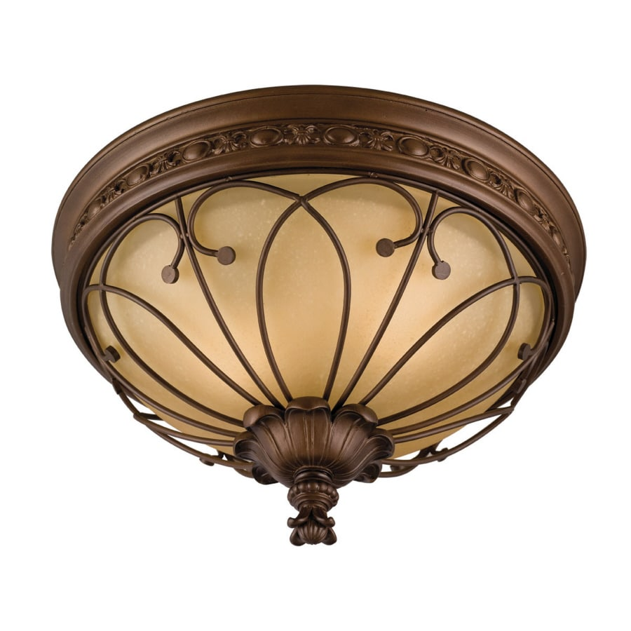 allen + roth 16-in W Antique Bronze Standard Flush Mount Light