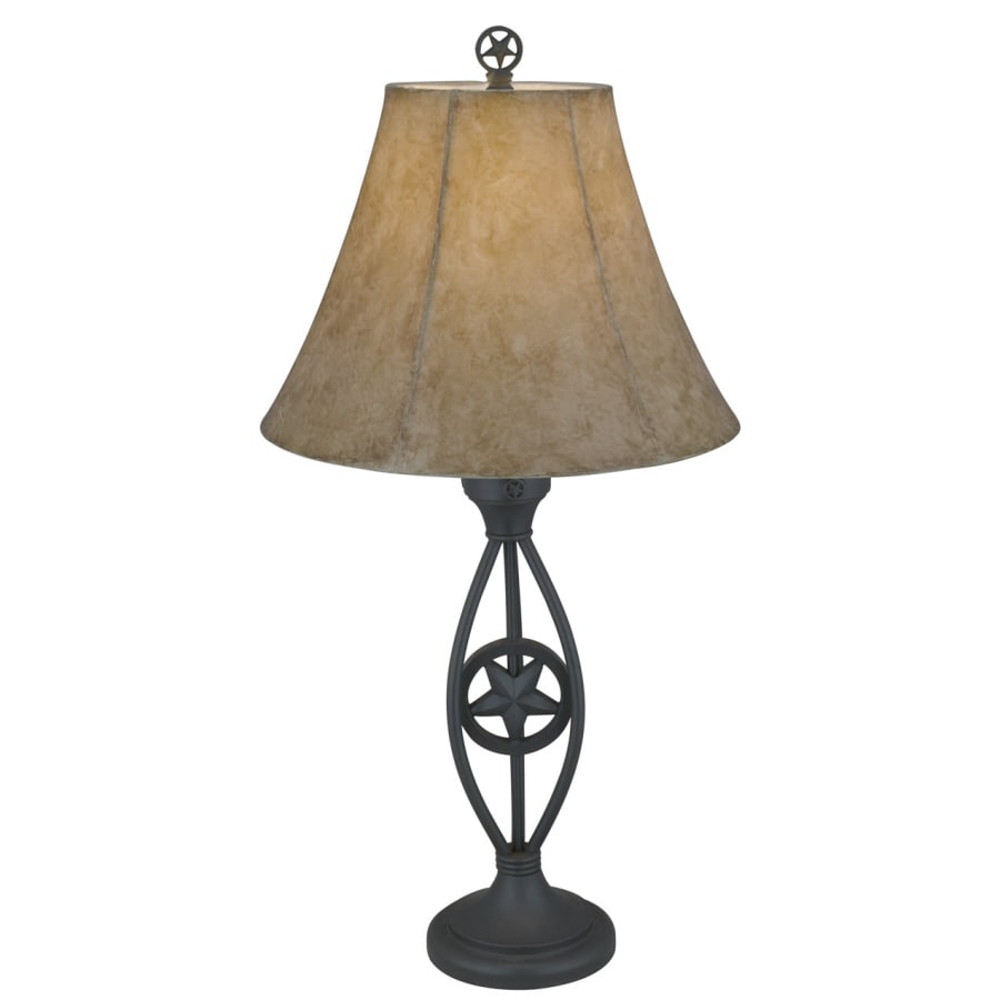 Portfolio Texas Star 30.5-in Dark Bronze Indoor Table Lamp with Fabric Shade