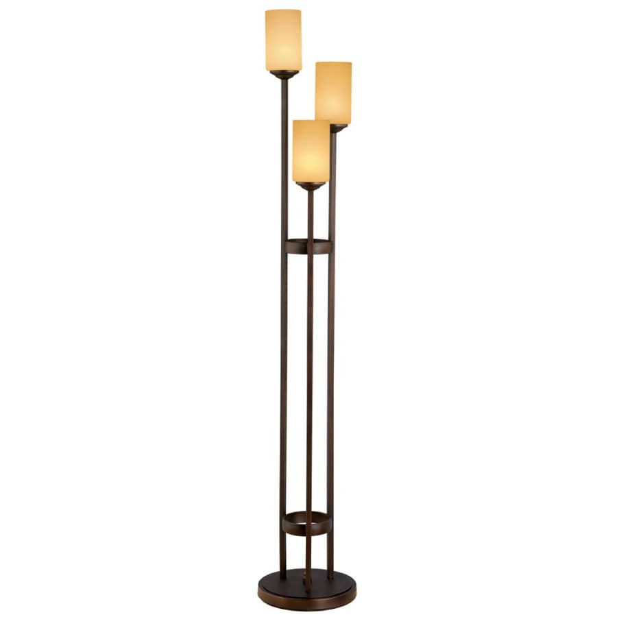 Portfolio 62-in Oil Rubbed Bronze Indoor Floor Lamp with Glass Shade