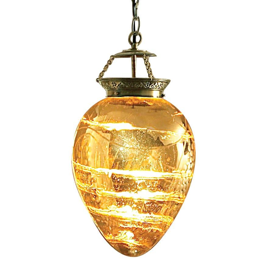 Portfolio 25-in W Antique Gold Kitchen Island Light with Glass Shade
