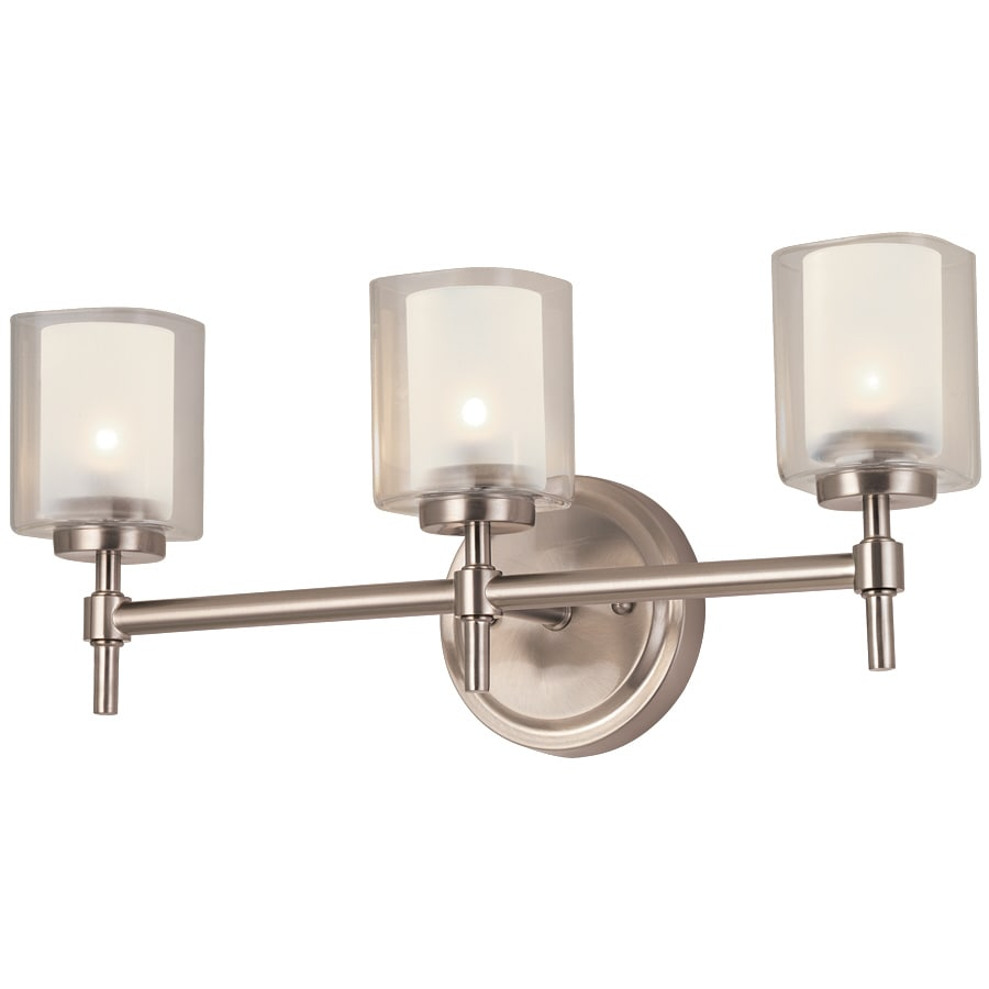 Polished Nickel Bathroom Vanity Light: Bel Air Lighting 3-Light Brushed Nickel Bathroom Vanity