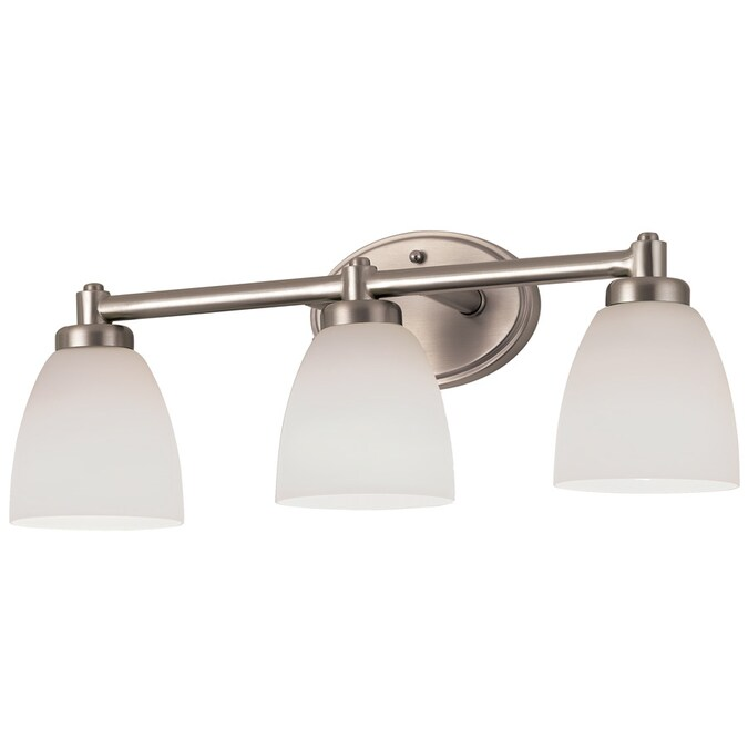 Portfolio 3 Light Delaware Brushed Nickel Bathroom Vanity Light In The Vanity Lights Department At Lowes Com