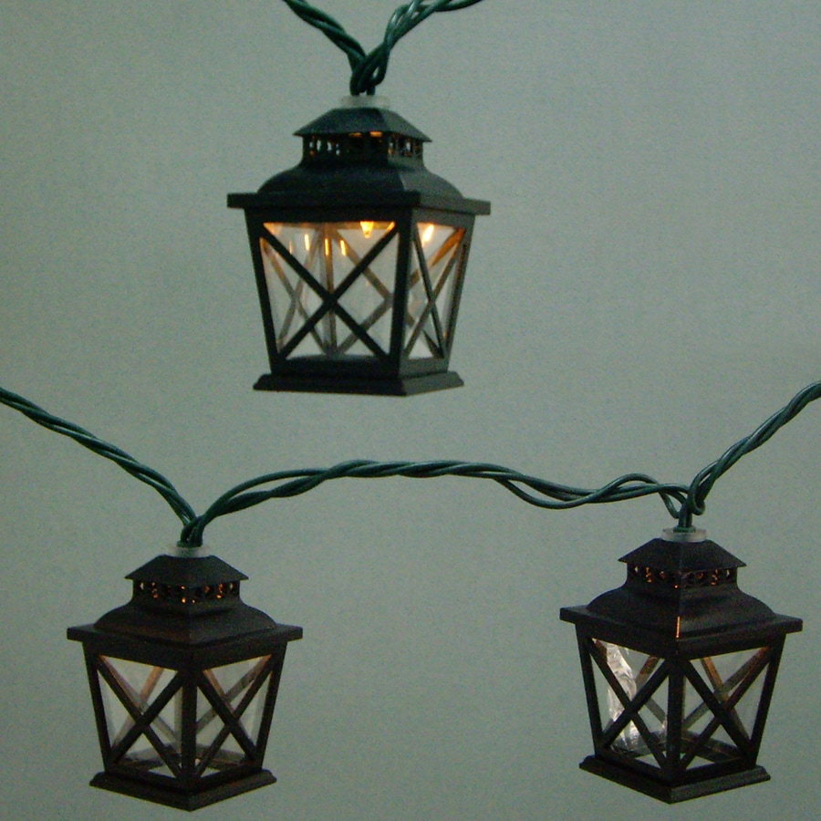 Outdoor Patio String Lights Lowes: Allen + Roth 7.8-ft Black Mini Bulb Criss Cross Lantern