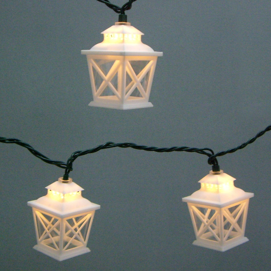 Mini paper lantern string lights -  Garden Treasures 7 8 Ft White Mini Bulb Criss Cross Lantern String Lights
