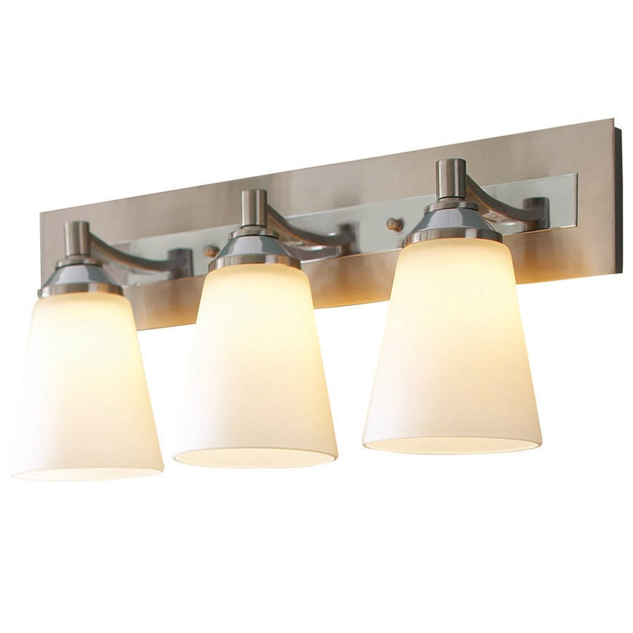 Bathroom Vanity Lights Polished Nickel shop allen + roth 3-light brushed nickel and polished chrome led