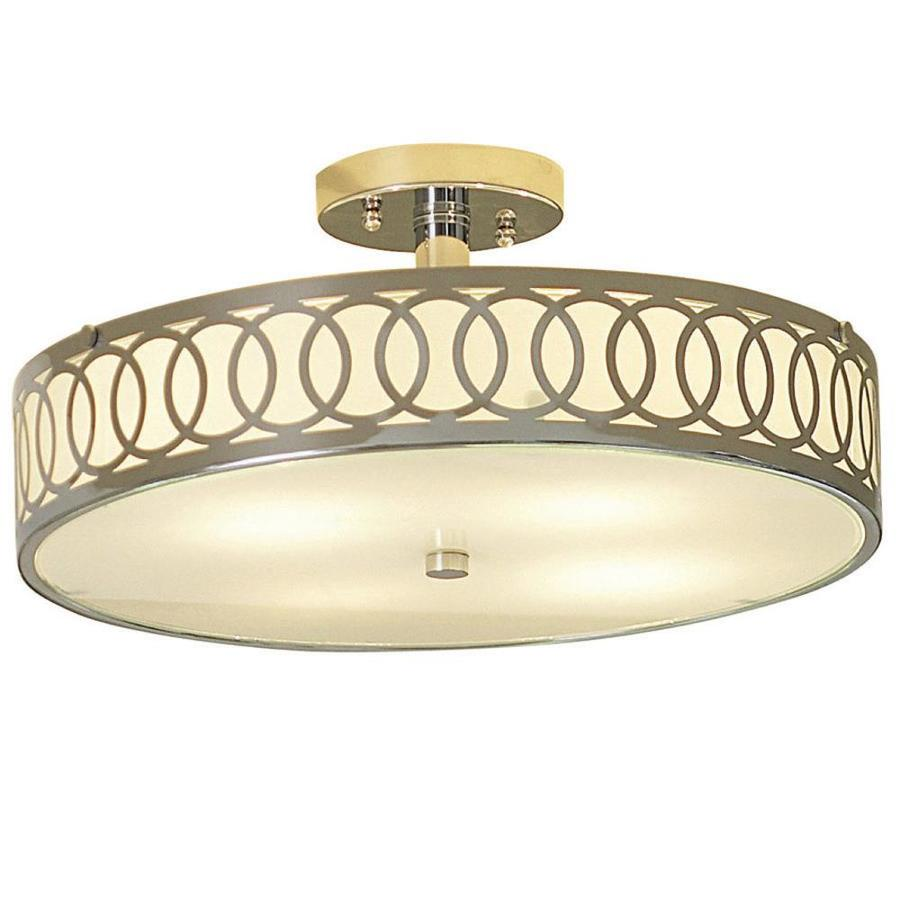 allen + roth 15.75-in W Polished Chrome Standard Flush Mount Light