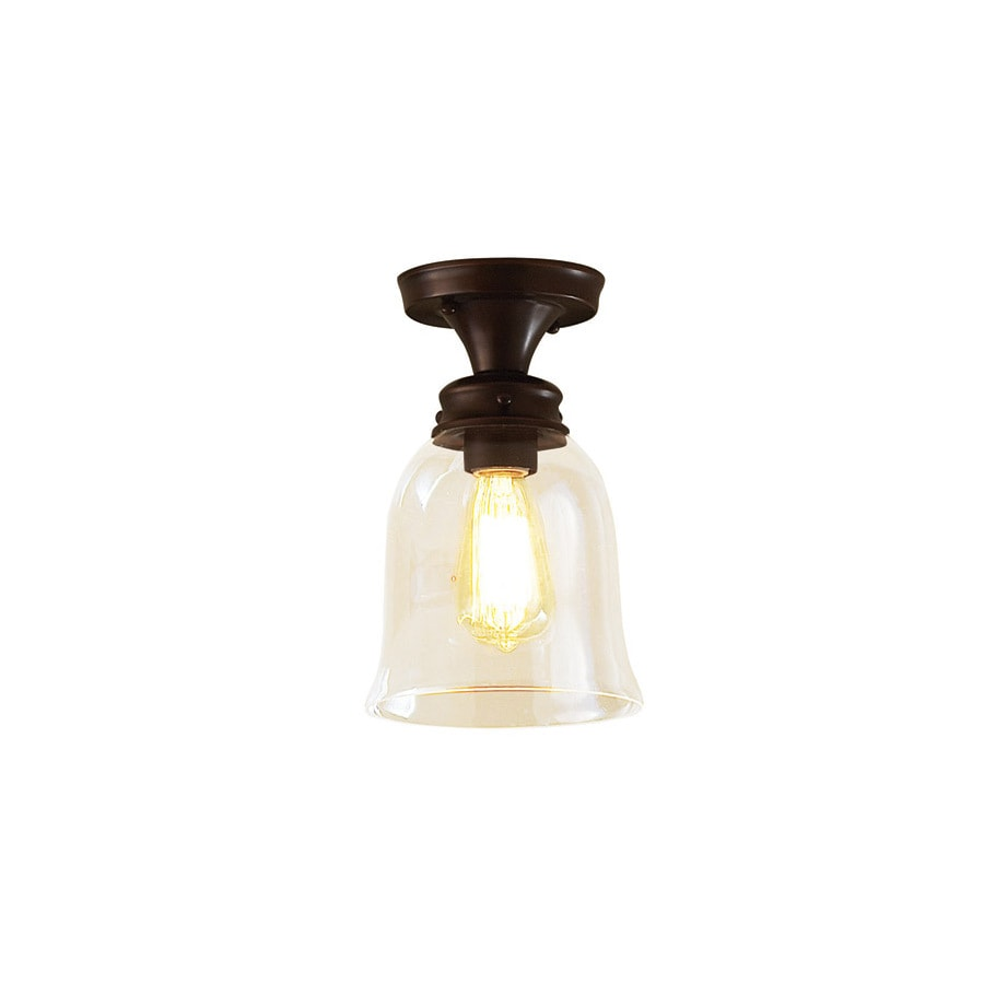 allen + roth Bristow 6.875-in W Oil rubbed bronze Clear Glass Semi-Flush Mount Light