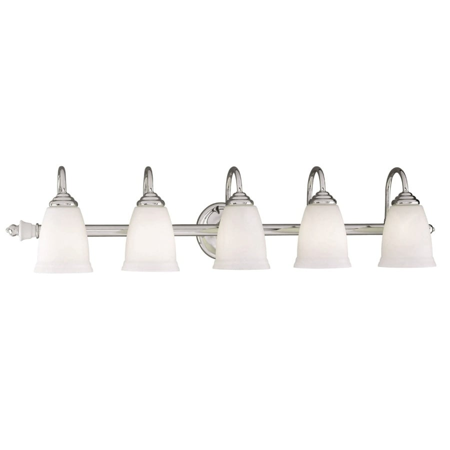 Shop Portfolio Porcelain Light In Polished Chrome Vanity Light - Chrome 5 light bathroom fixture
