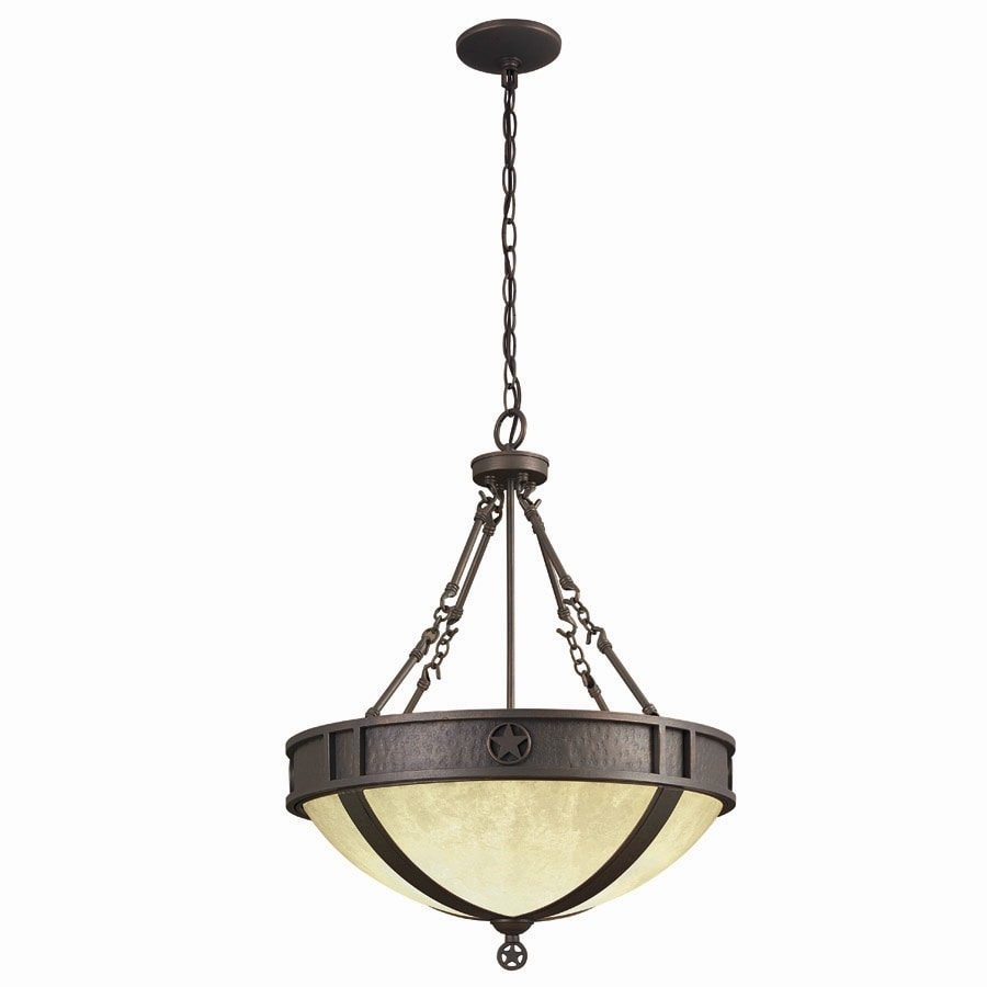 Portfolio Texas Star 21-in Darkened Bronze Rustic Single Pendant