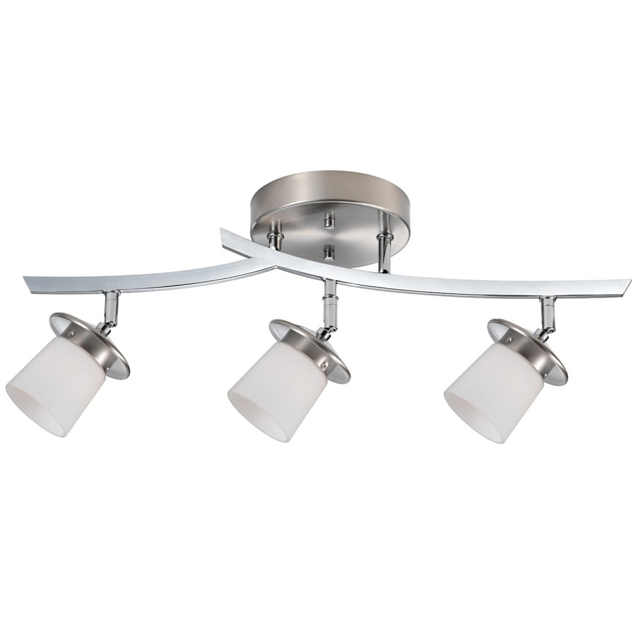 Bel Air Lighting 22.25-in W Brushed Nickel Frosted Glass Semi-Flush Mount Light