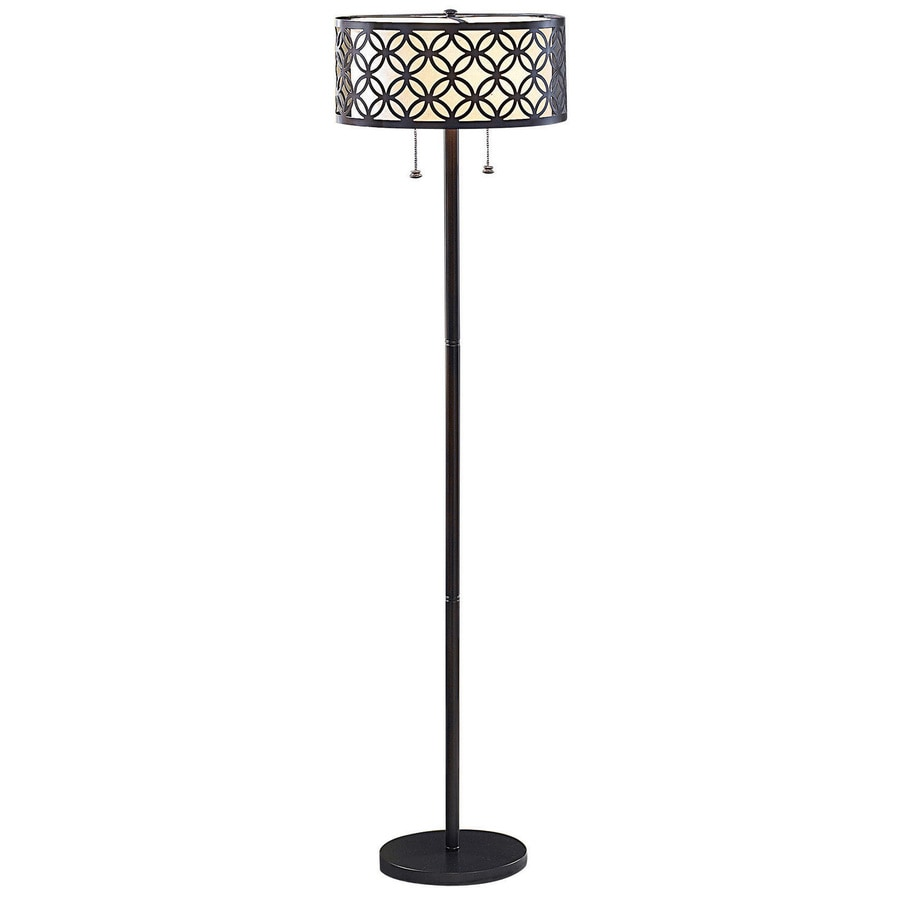 allen + roth 63-in Oil-Rubbed Bronze Transitional Shaded Floor Lamp Floor Lamp with Metal Shade