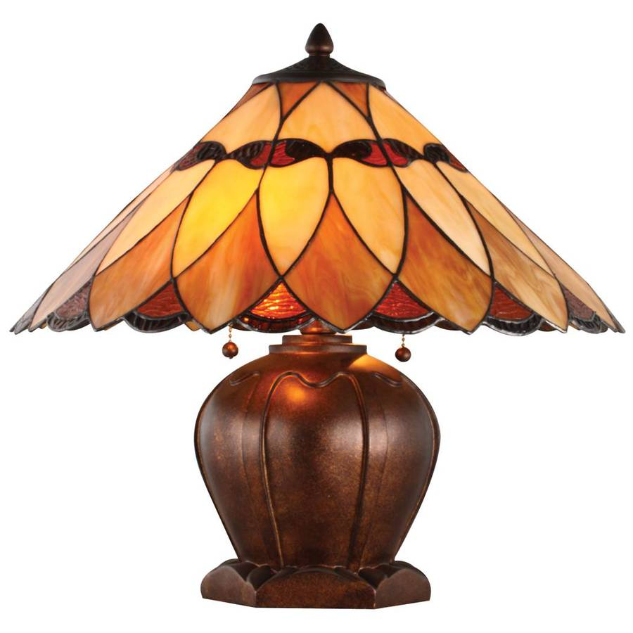 Bel Air Lighting 17.125-in 3-Way Oil Rubbed Bronze Tiffany-Style Indoor Table Lamp with Tiffany-Style Shade
