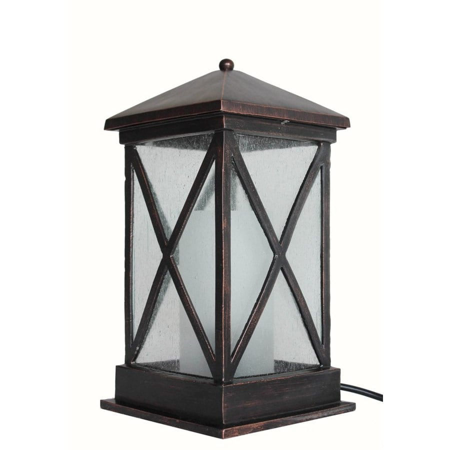allen + roth 15-in Metal Plug-in Outdoor Table Lamp
