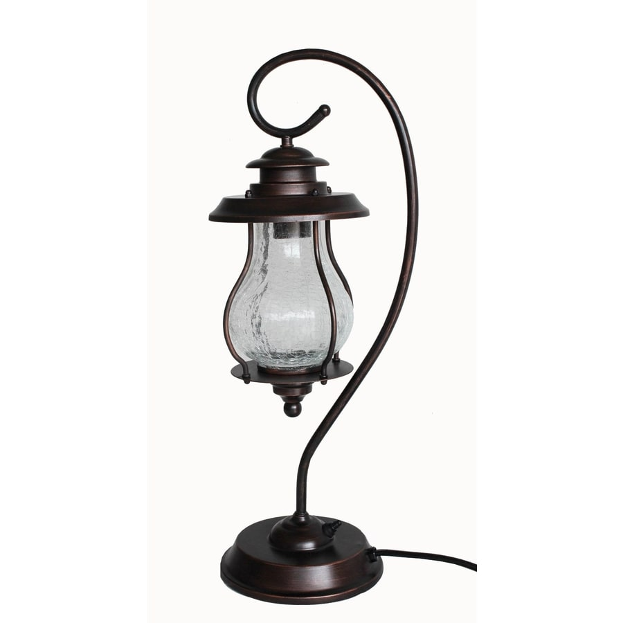 allen + roth 24.625-in Oil-Rubbed Bronze Outdoor Table Lamp with Shade