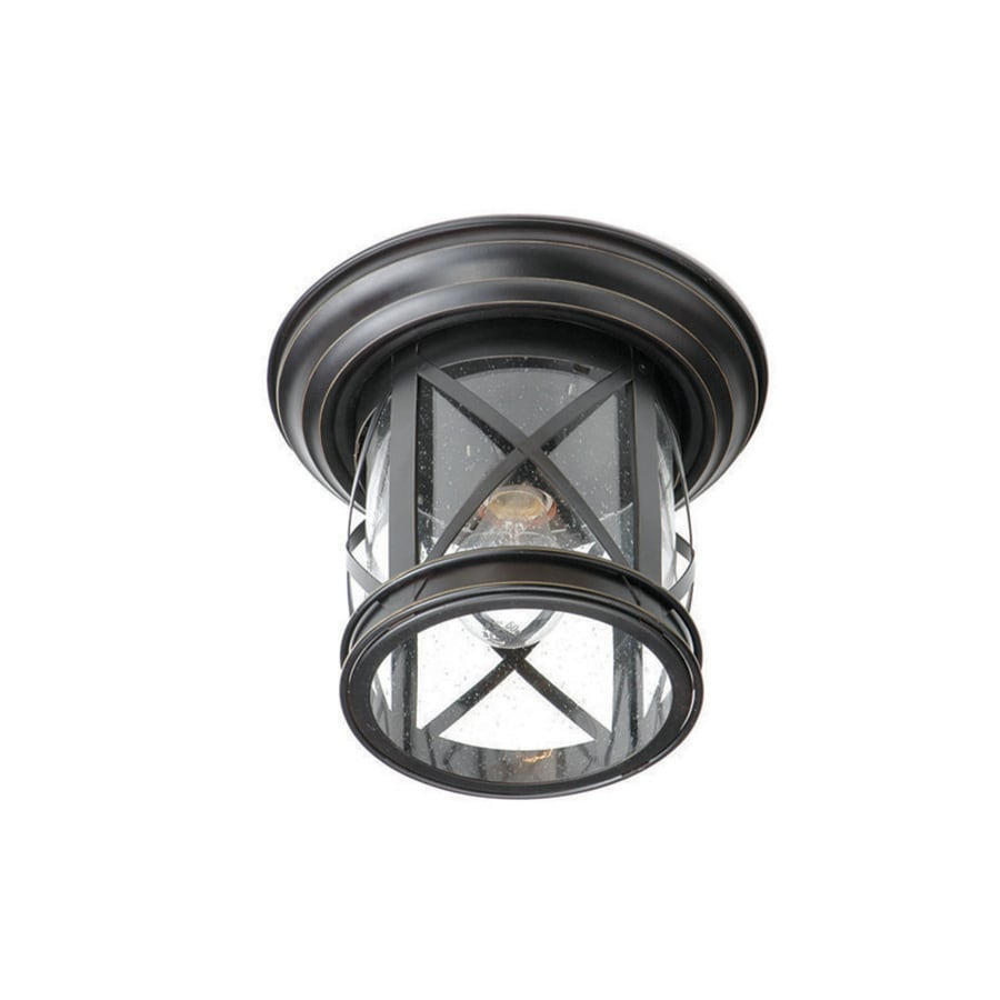 allen + roth 9.84-in W Oil Rubbed Bronze Outdoor Flush-Mount Light