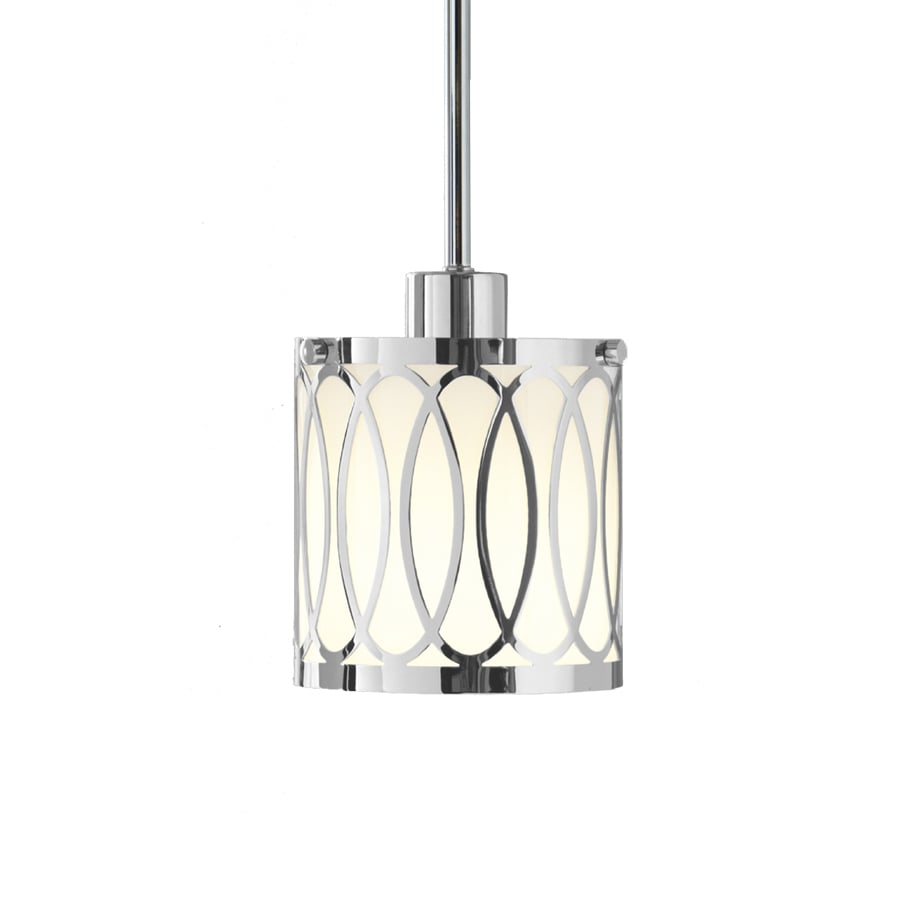 Style Selections 5.6-in W Polished Chrome Mini Pendant Light with White Shade