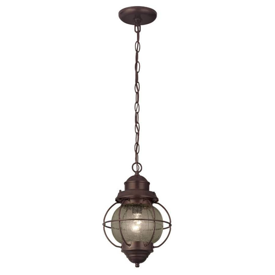 Portfolio Lodge Decor 9-in Rustic Bronze Rustic Mini Clear Glass Pendant