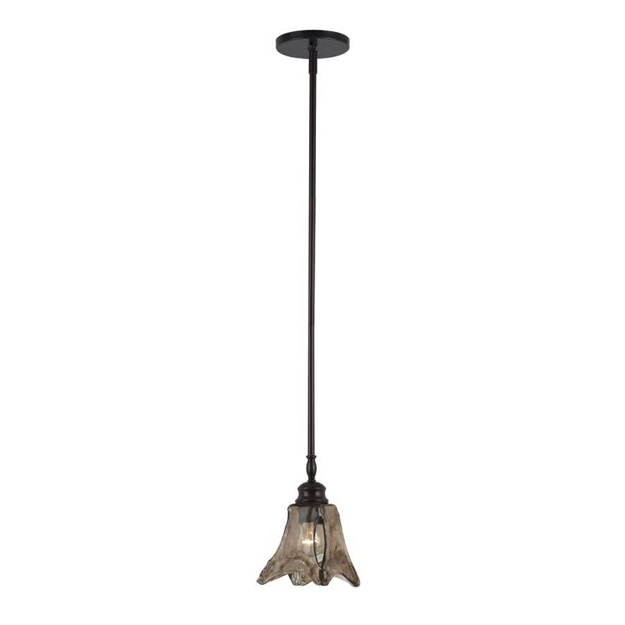 Bel Air Lighting 5.5-in W Bronze Mini Pendant Light with Marbleized Glass Shade