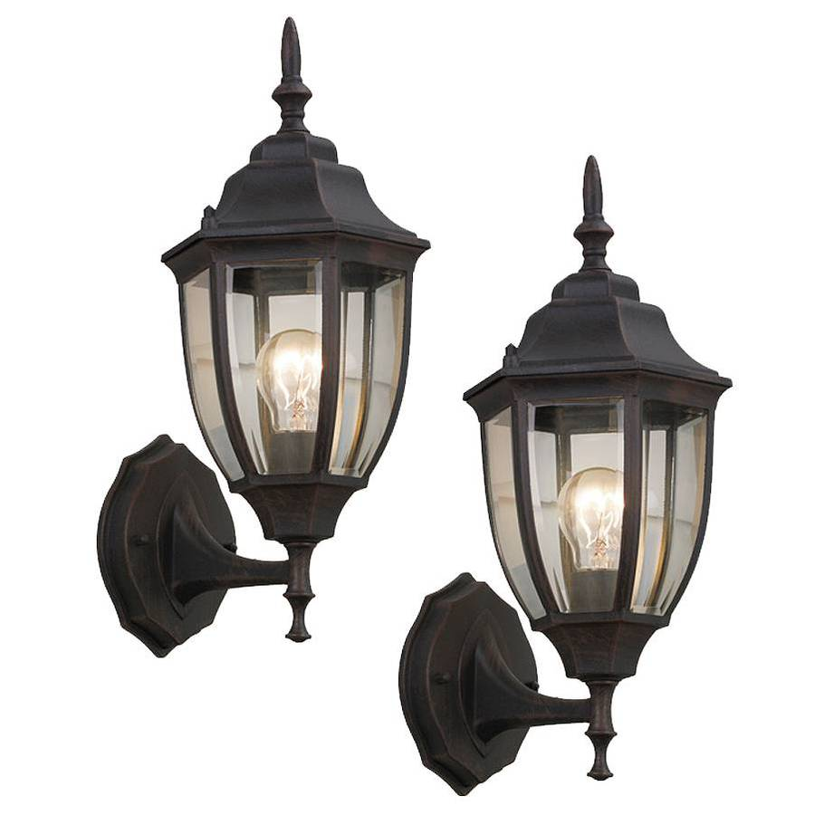 Portfolio 2-Pack 14-in H Rust Outdoor Wall Lights