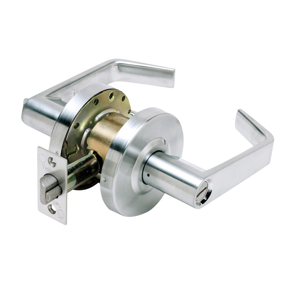 TELL MANUFACTURING, INC. Lc2600 SilverPush-Button Lock Privacy Door Lever