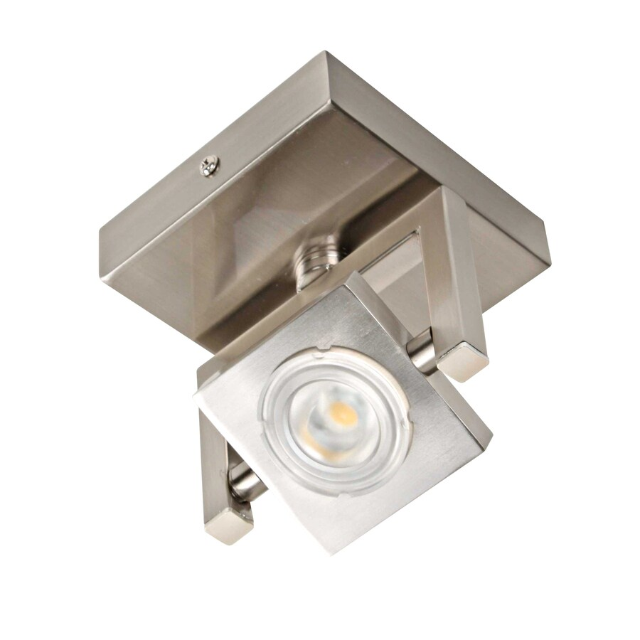 Portfolio 4.92-in Satin Nickel and Polished Chrome LED Flush Mount Fixed Track Light Kit