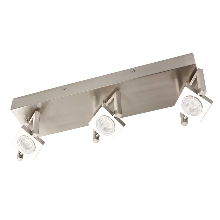 Portfolio 3-Light 18.5-in Satin Nickel and Polished Chrome LED Flush Mount Fixed Track Light Kit