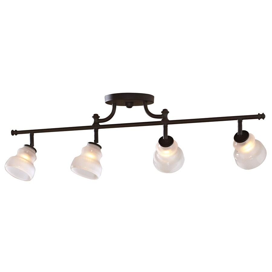 allen + roth 4-Light 32-in Olde Bronze Dimmable Fixed Track Light Kit