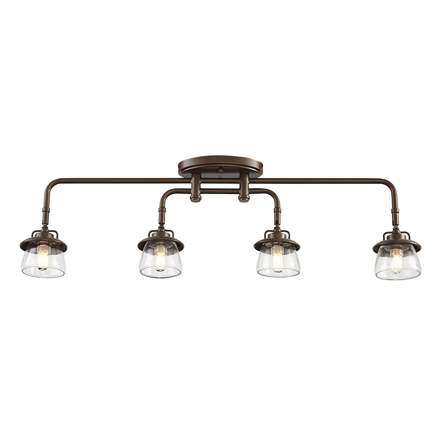Shop fixed track lighting kits at lowes allen roth bristow 4 light 3197 in mission bronze dimmable track bar fixed mozeypictures Image collections