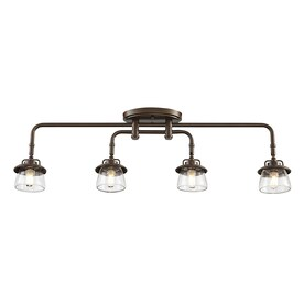 Shop fixed track lighting kits at lowesforpros allen roth bristow 4 light 3197 in mission bronze dimmable track bar fixed aloadofball Image collections