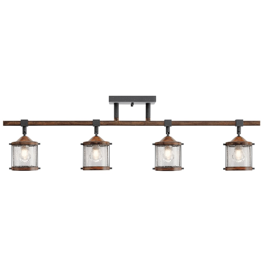 Kichler Barrington 4 Light 32 In Distressed Black And Wood Dimmable Track Bar Fixed