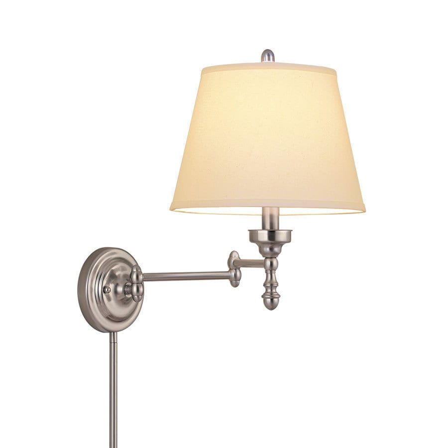 allen + roth 15.62-in H Brushed Nickel Swing-Arm Traditional Wall-Mounted Lamp with Fabric Shade
