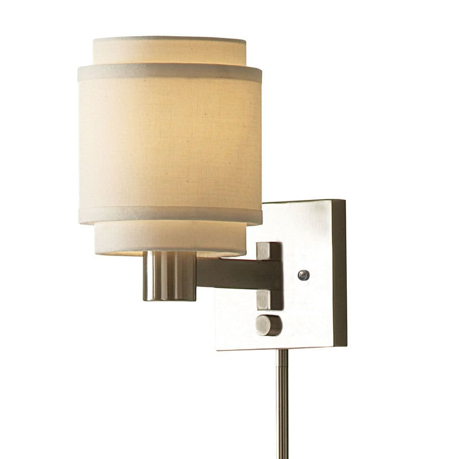 allen + roth 10.12-in H Brushed Nickel Swing-Arm Wall-Mounted Lamp with Fabric Shade