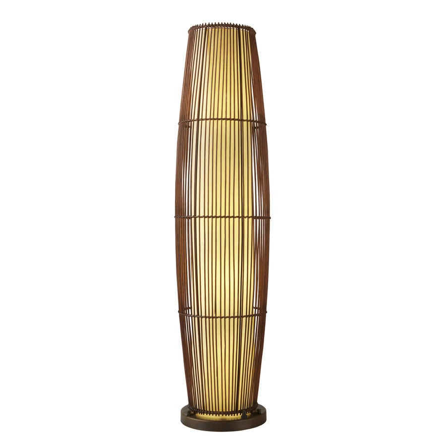 allen + roth 52-in H Aged Bronze Outdoor Floor Lamp with Fabric Shade