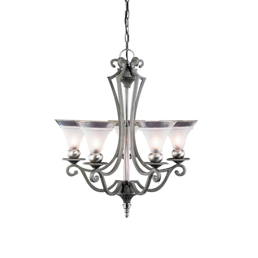 Portfolio Saxony 25-in 5-Light Tuscan Gold and Pewter Standard Chandelier