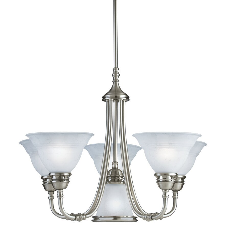 Portfolio Newport 24.75-in 6-Light Antique Pewter Standard Chandelier