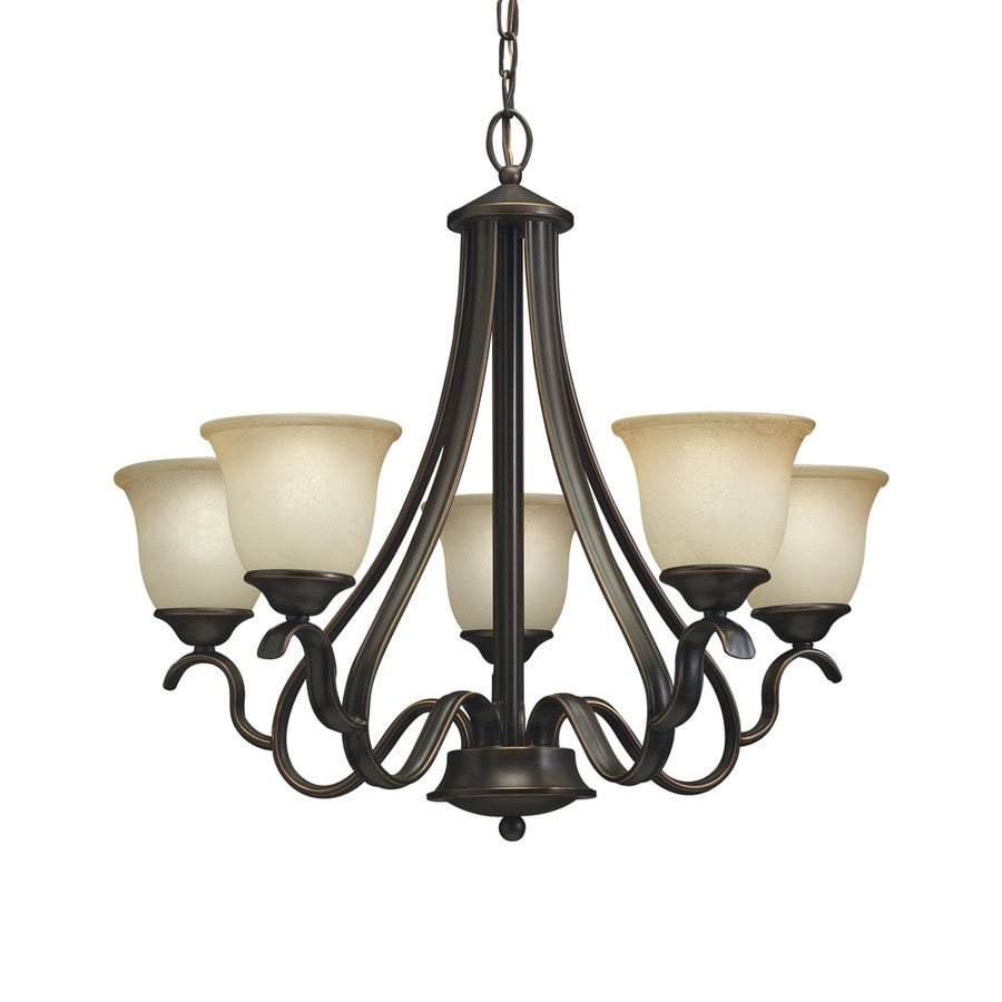 Shop chandeliers at lowes portfolio llana 2575 in 5 light black bronze craftsman etched glass shaded chandelier arubaitofo Images
