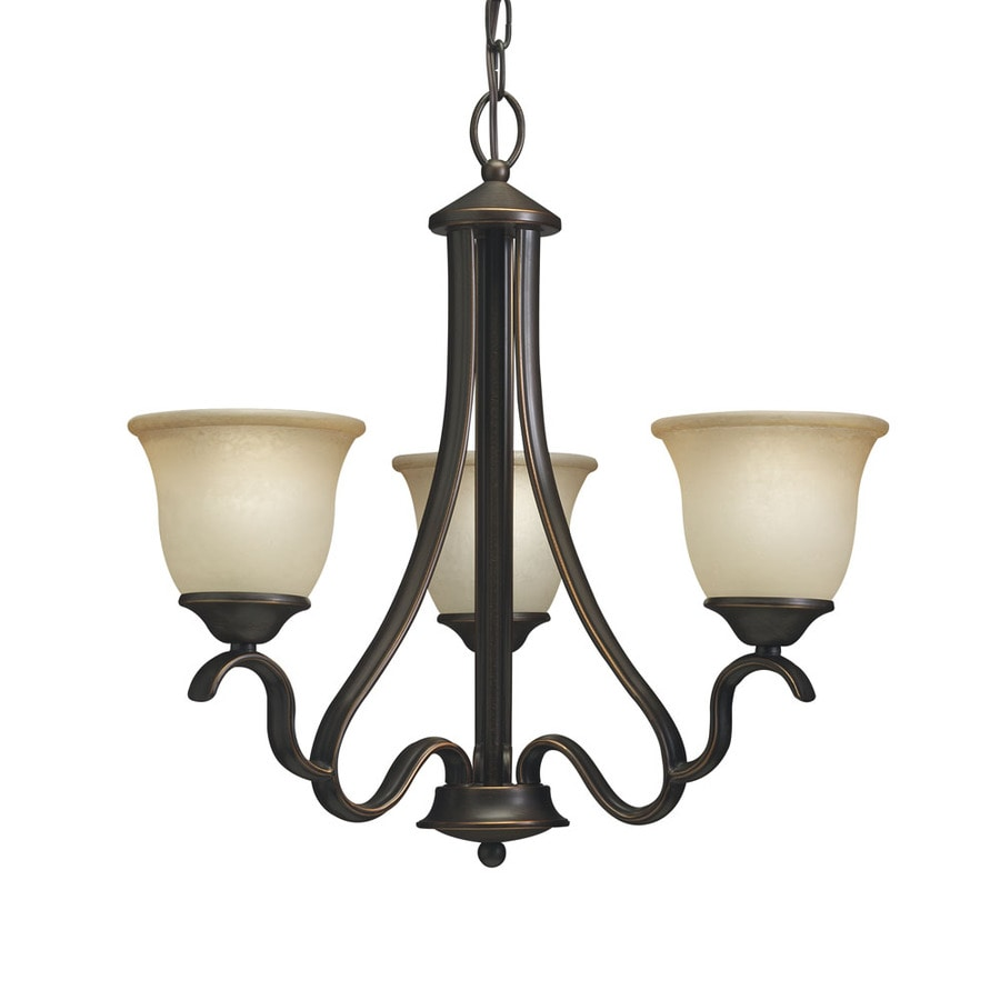 Portfolio Danrich Marina 21.25-in 3-Light Black Bronze W/Red Craftsman Etched Glass Draped Chandelier