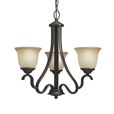 the latest 5366d ed93a Llana 3-Light Black Bronze Traditional Etched Glass Shaded Chandelier