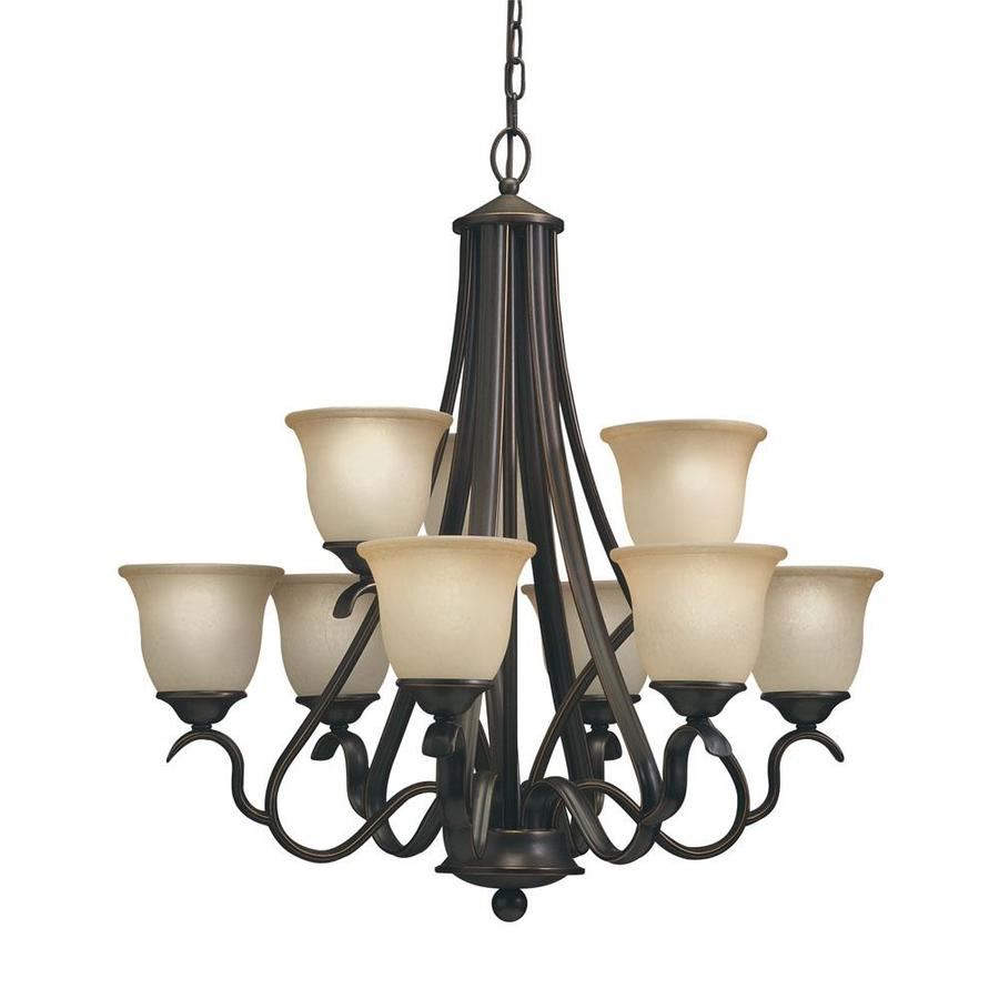 Portfolio Llana 27.43-in 9-Light Black bronze Craftsman Hardwired Etched Glass Shaded Chandelier
