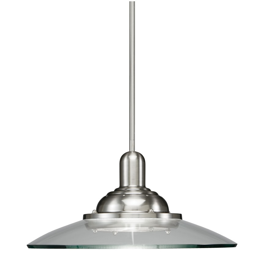 allen + roth Galileo 18.5-in Brushed Nickel Mini Clear Glass Pendant