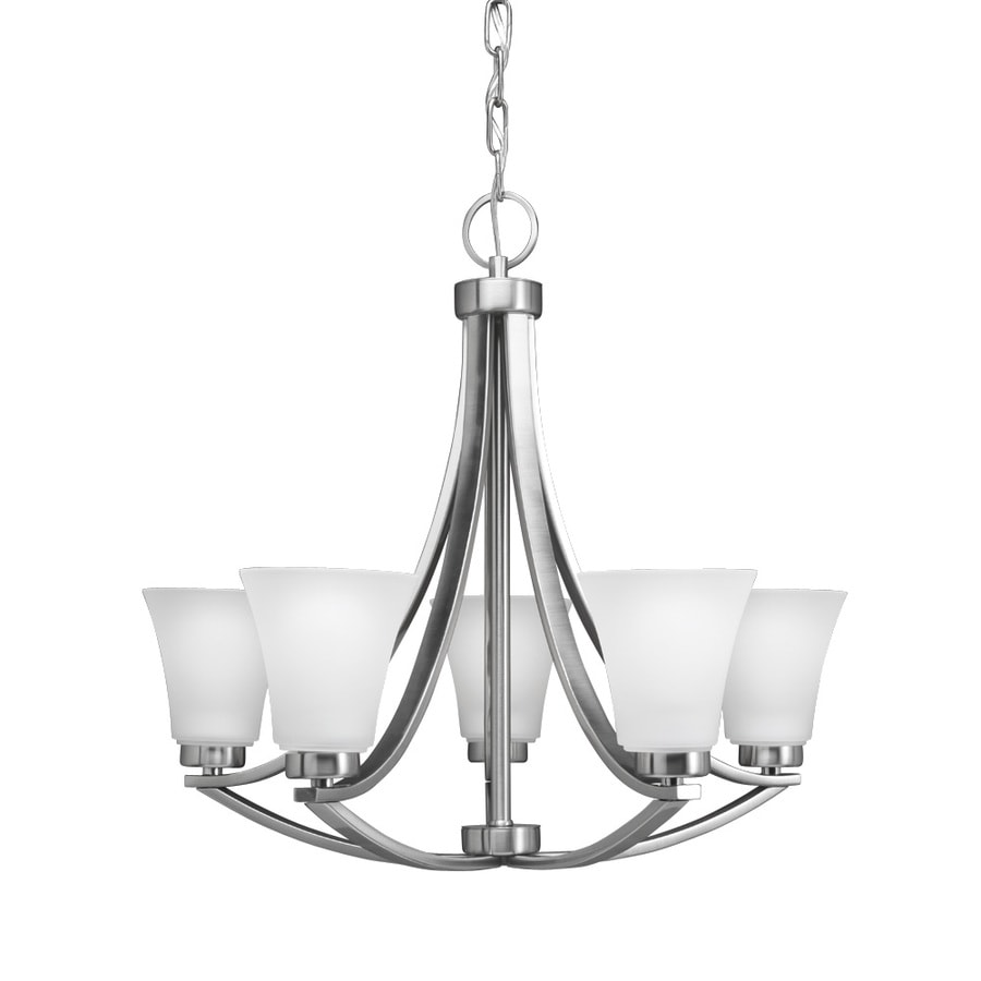 Portfolio lyndsay 5 light satin nickel modern contemporary etched glass shaded chandelier