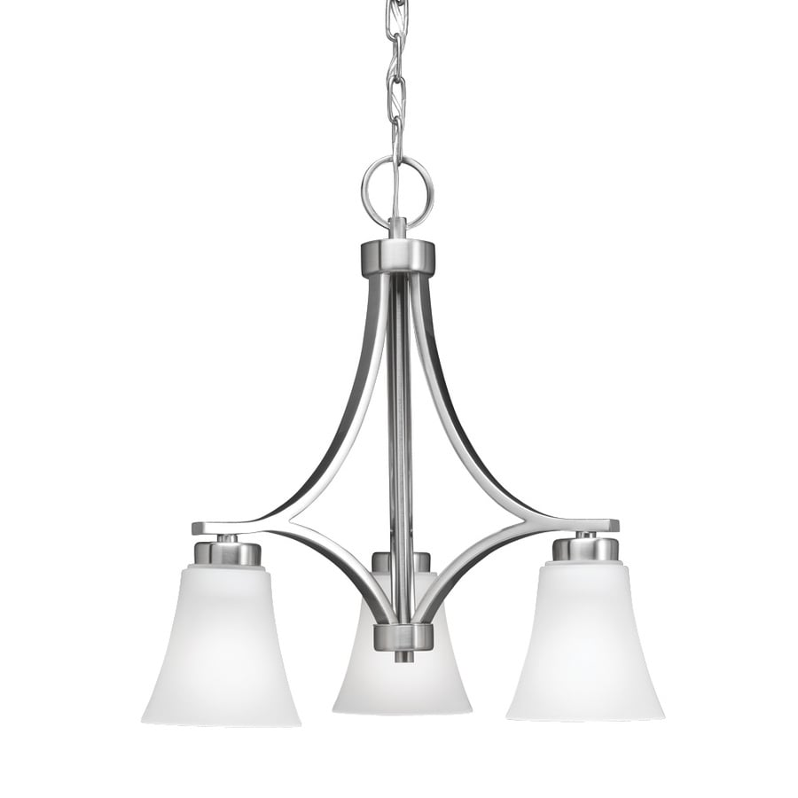 Portfolio Lyndsay 18-in 3-Light Satin Nickel Etched Glass Shaded Chandelier