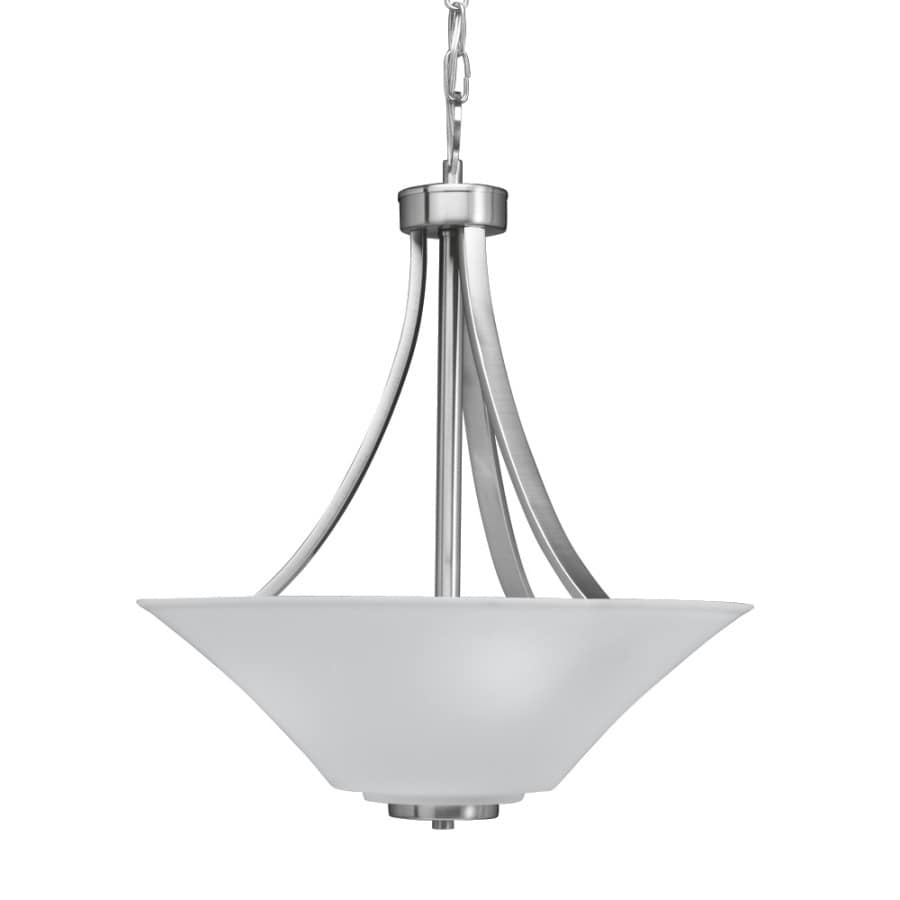 portfolio lyndsay 18in w brushed nickel pendant light with frosted glass shade