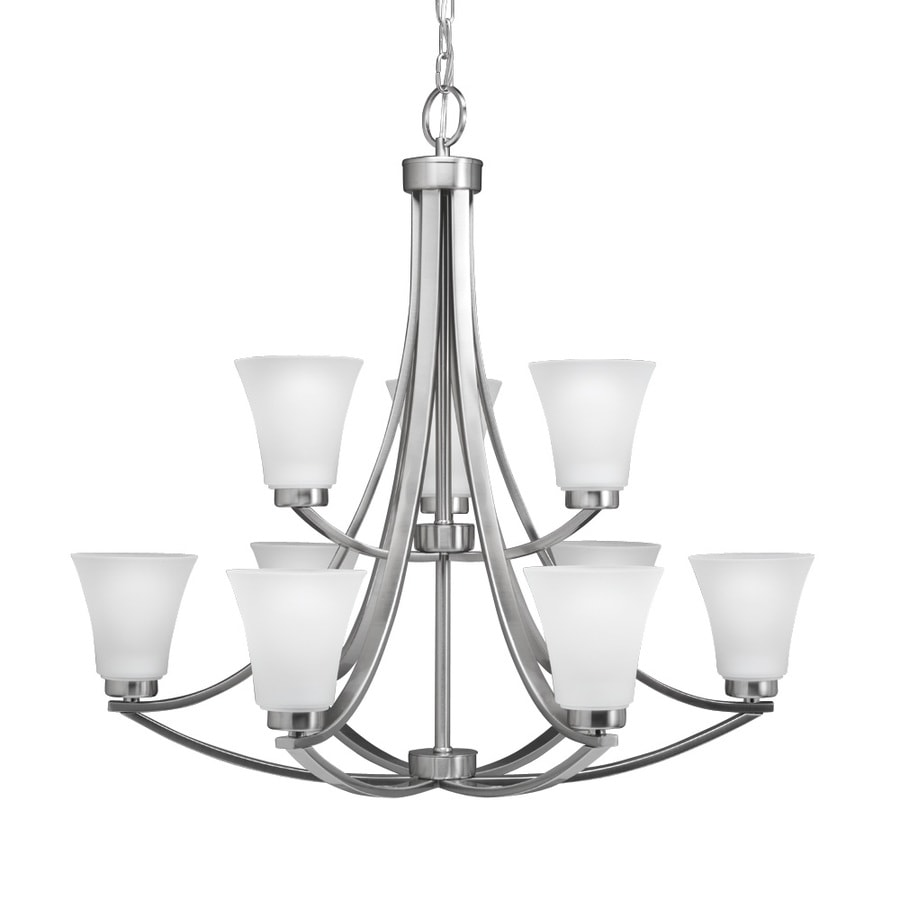Portfolio Lyndsay 9 Light Satin Nickel Modern Contemporary Etched Gl Shaded Chandelier