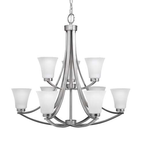 Portfolio Lyndsay 9 Light Satin Nickel Modern Contemporary Etched Gl Shaded Chandelier At Lowes