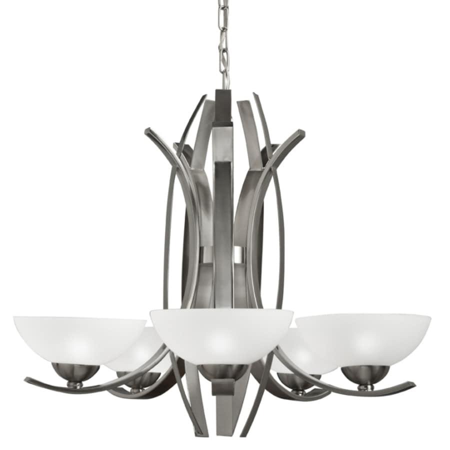 Shop portfolio 5 light polished nickel chandelier at lowes portfolio 5 light polished nickel chandelier arubaitofo Image collections