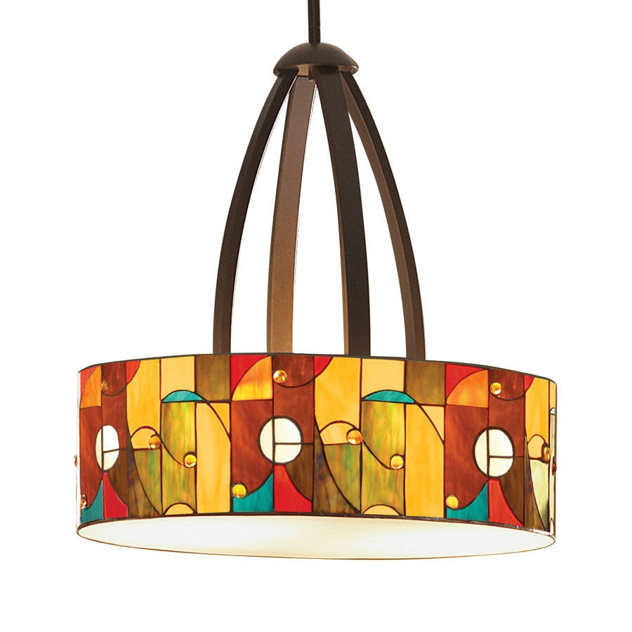 allen + roth Drakeston 20-in Mission Bronze Tiffany-Style Single Stained Glass Drum Pendant