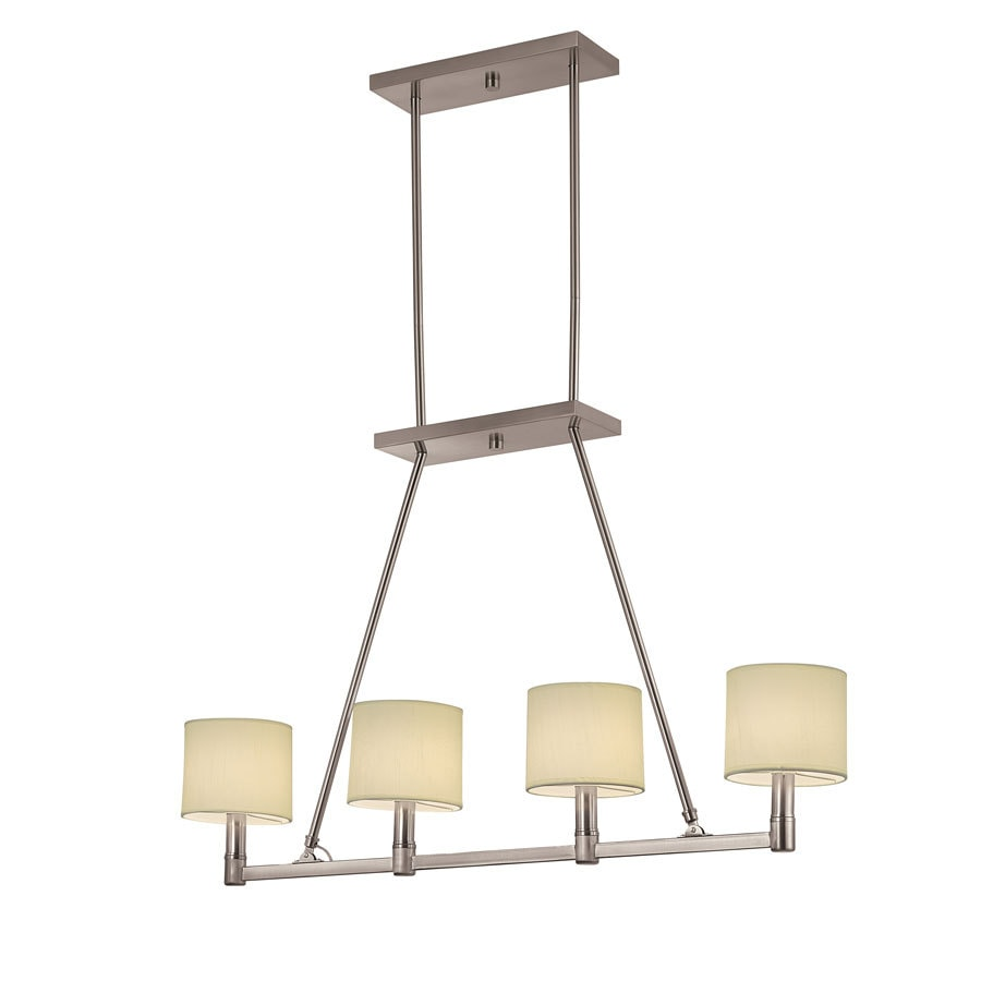 Portfolio 39.12-in W 4-Light Brushed Nickel Kitchen Island Light with Fabric Shade