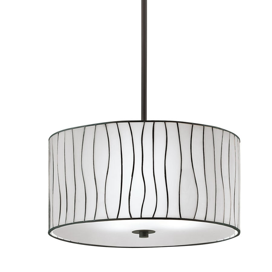 Portfolio 16-in W Bronze Pendant Light with Tiffany-Style Shade