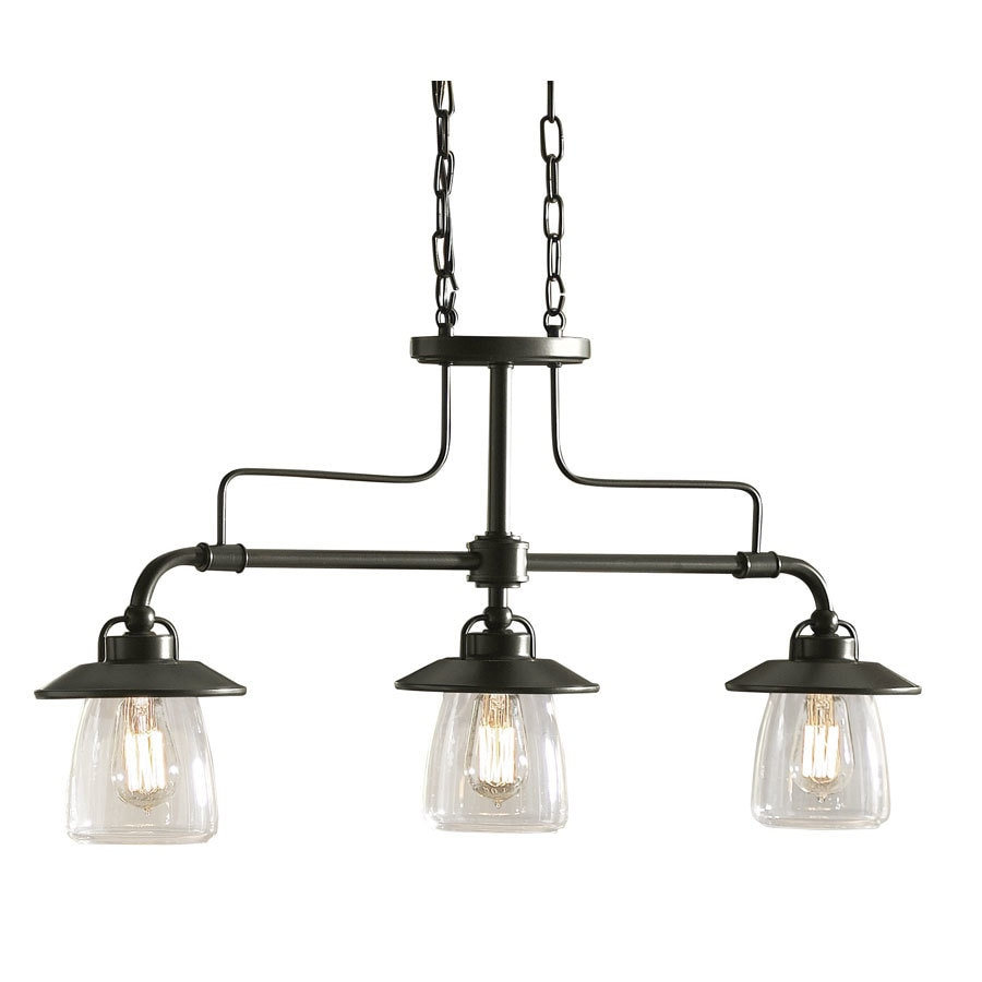 allen + roth Bristow 6.87-in W 3-Light Mission bronze Rustic/Lodge Standard Kitchen Island Light with Clear Shade